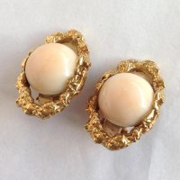 Angel Skin Coral Earrings 14k Nugget Clip Back : Antiques