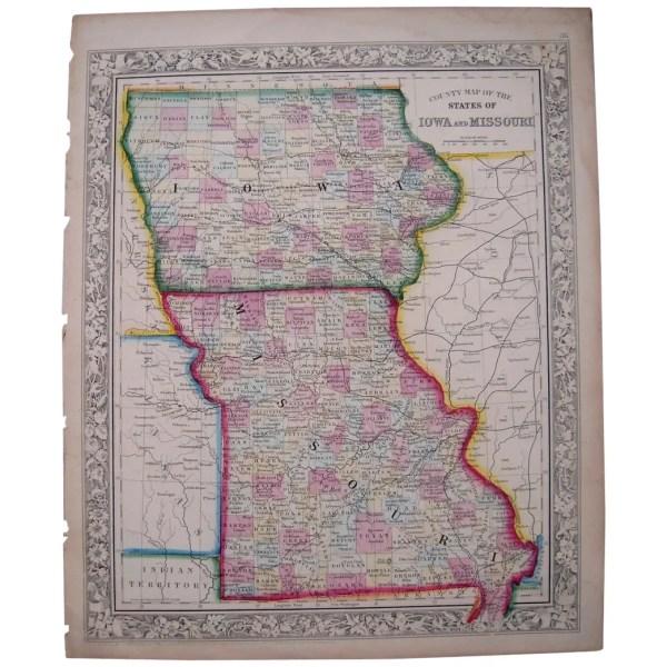 1861 Hand Colored Map Iowa Missouri Blue Spruce Rugs