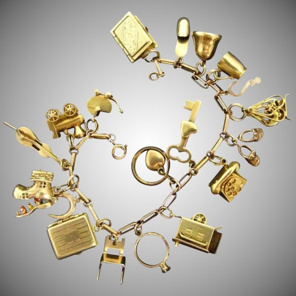 Rare Early Mid Century 14k Gold Charm Bracelet With 10k