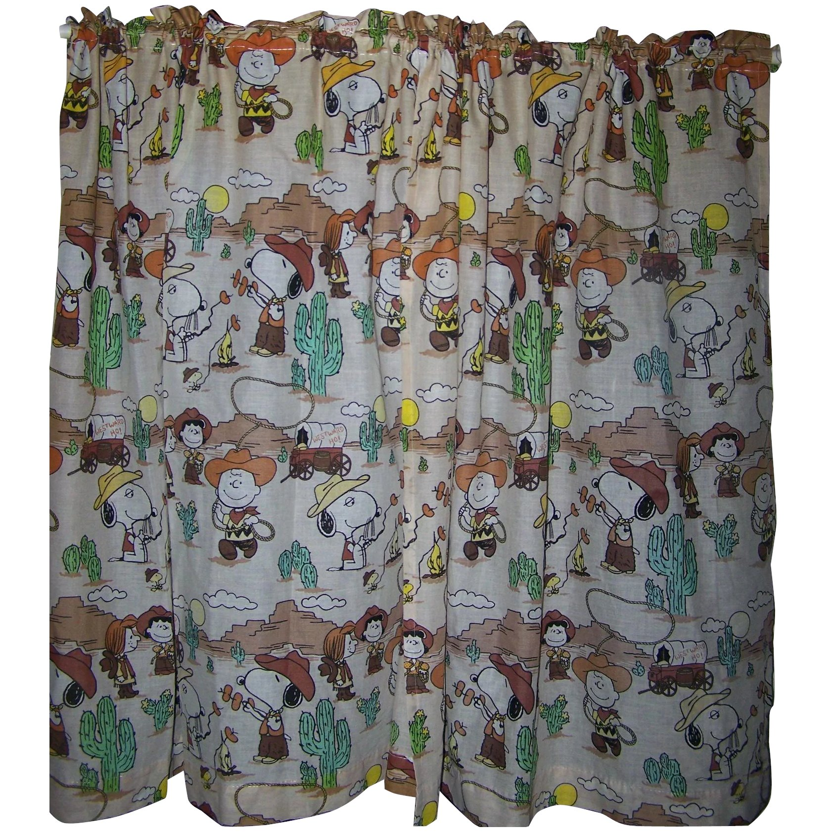 charlie brown children s curtains snoopy peanuts gang western theme