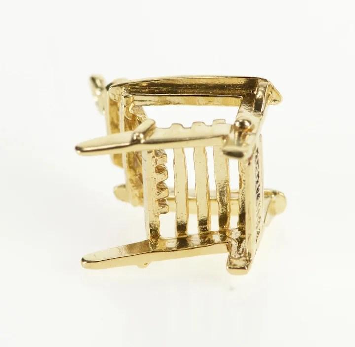 antique beach chair wingback covers ebay 14k 3d wood adirondack charm pendant yellow gold qwqq