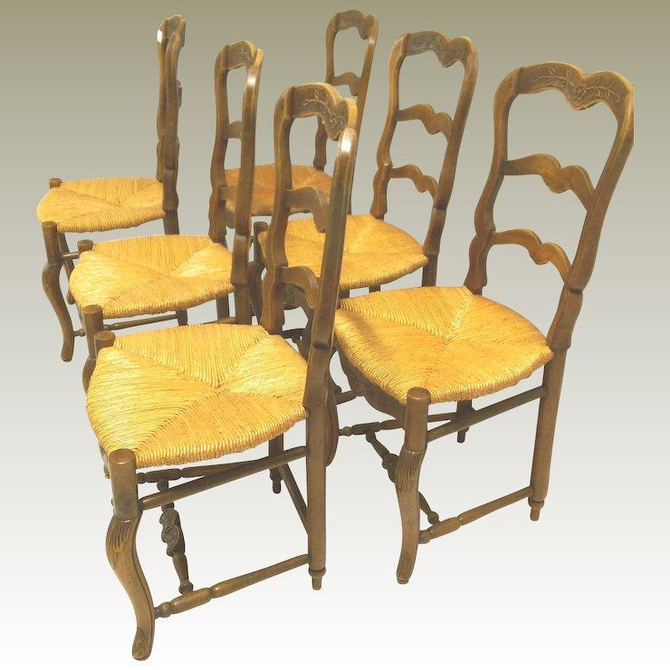 rush seat chairs swing chair 6 antique french turned footrest c 1900 maison