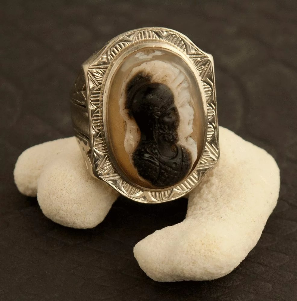 Vintage Art Deco 10 Karat White Gold And Onyx Double Face Cameo Ring  24K Green  Ruby Lane