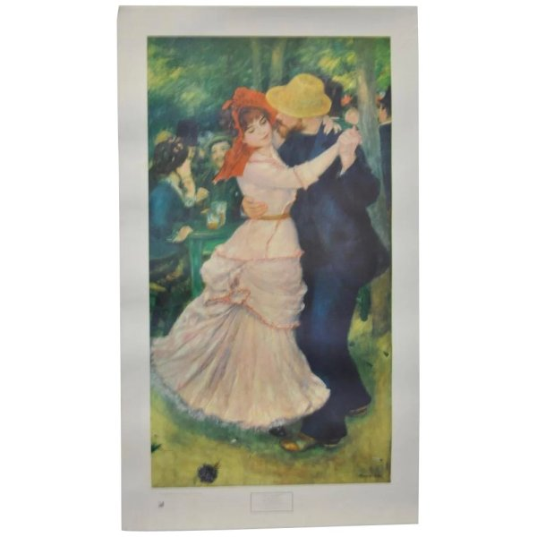 """Vintage Renoir """"bal Bougival"""" Exhibition Poster Museum Of Fine Arts Antique Canvas Ruby Lane"""