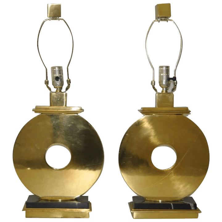 pair of robert abbey vintage brass marble table lamps