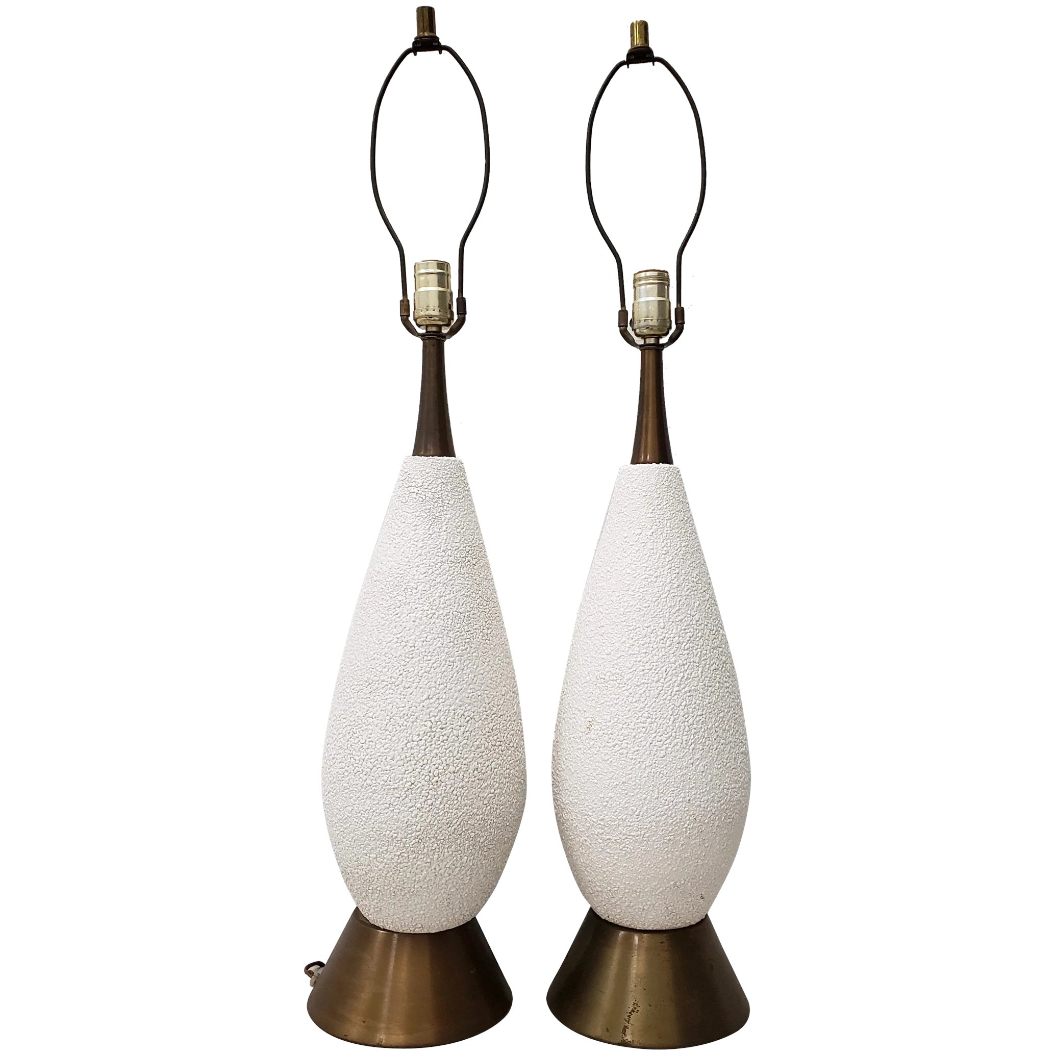 Pair Of Mid Century Modern White Textured Ceramic Table Lamps