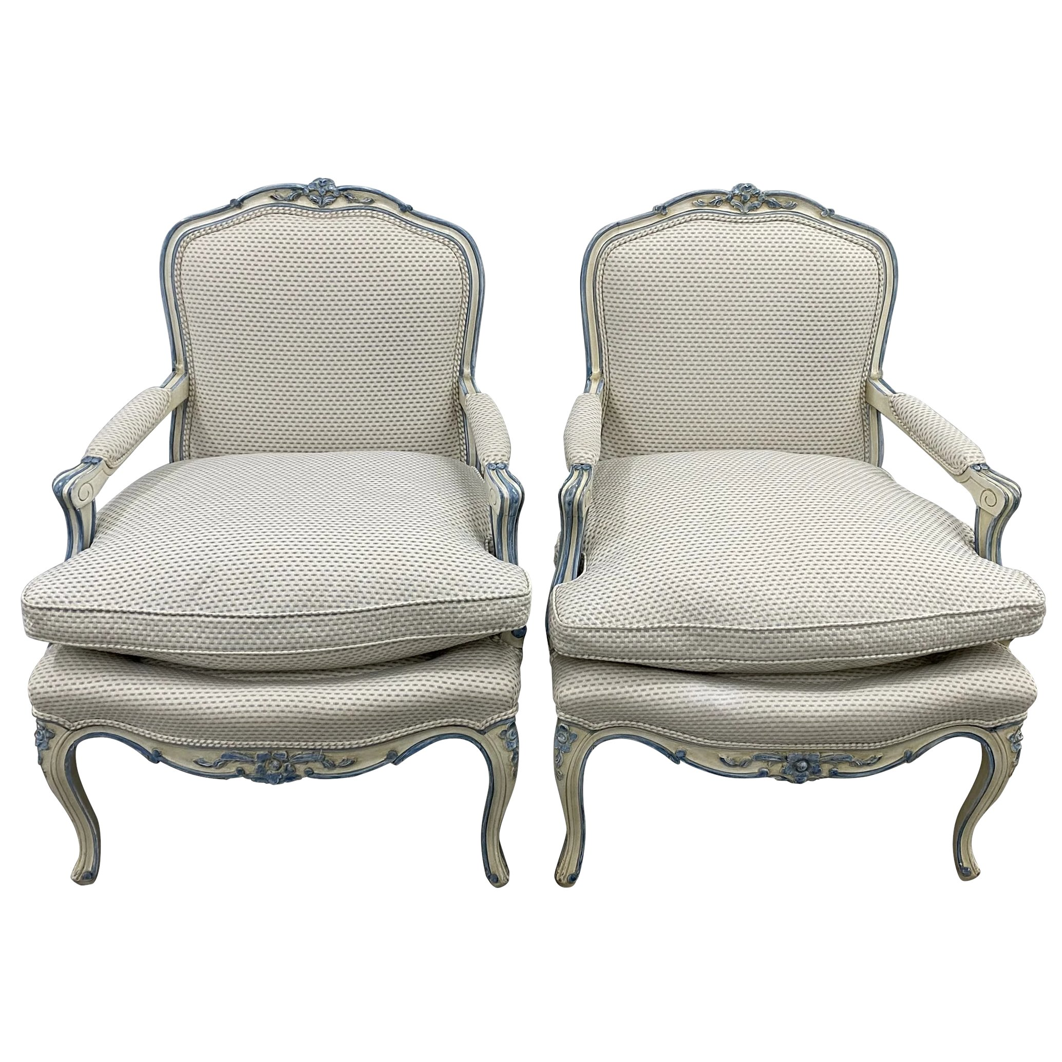 pair of french style carved upholstered arm chairs c 1940s
