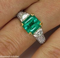 Vintage GIA 3.01ct Natural COLOMBIAN Green Emerald Diamond ...