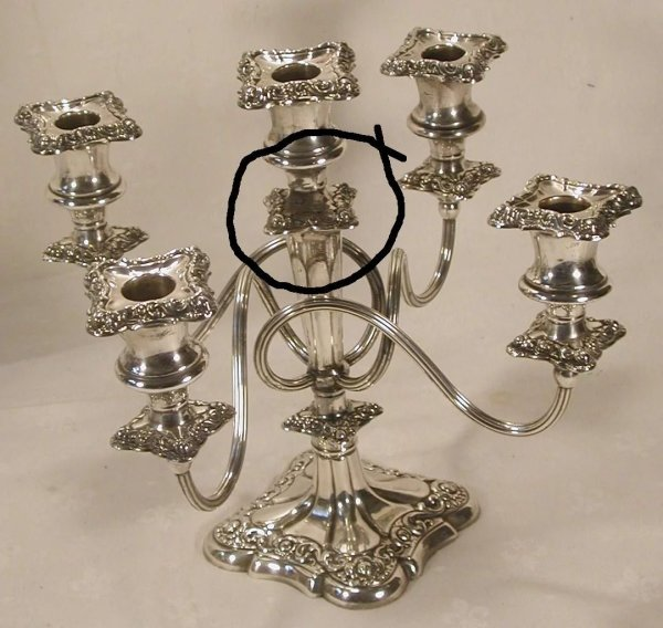 Antique Pair Silver Plate 5 Light Candelabra Candlesticks