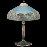 Signed Reverse Painted Pittsburgh Lamp SOLD | Ruby Lane