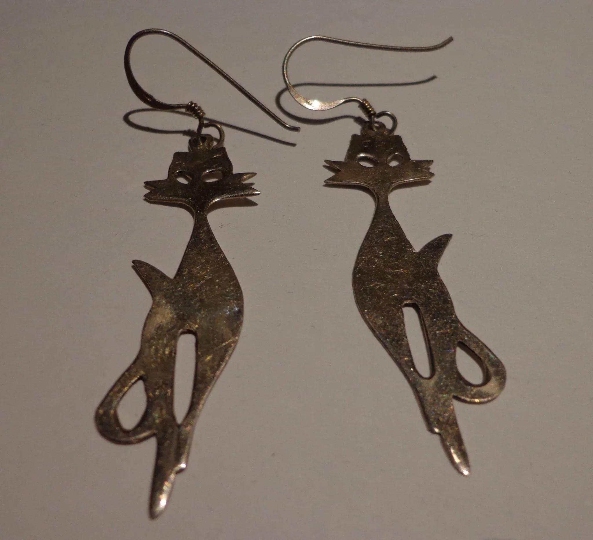 Vintage Cat Earrings 925 Sterling Silver Stylized Modern