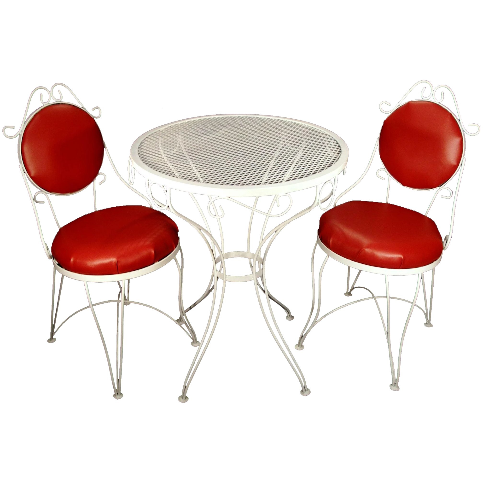 vintage mid century red white wrought iron ice cream parlor patio kitchen table chairs