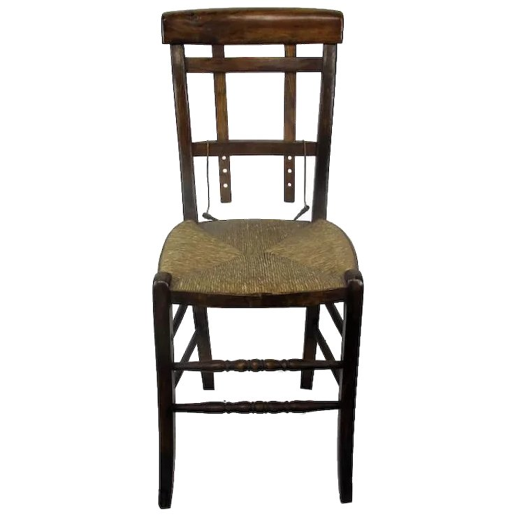 funky wooden chairs armless office without wheels antique chair rush seating adjustable back extremely rare secondlife ruby lane