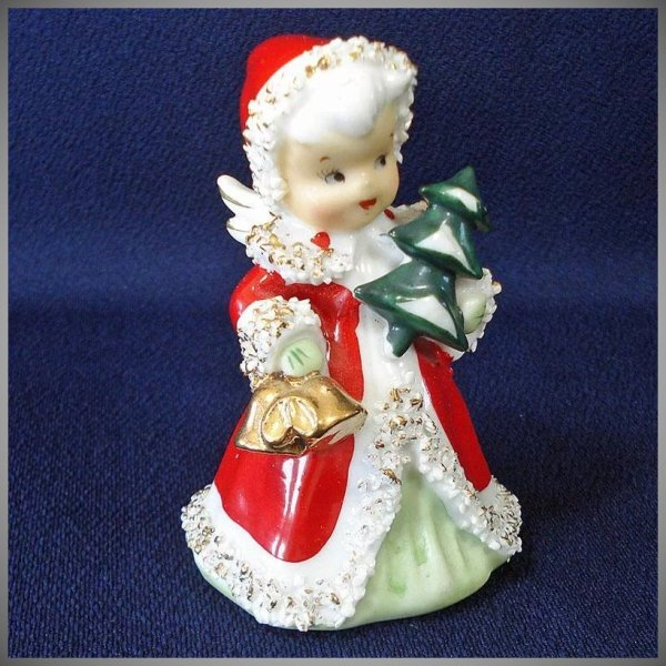 Lefton Christmas Angel Bell With Tree Figurine Copperton