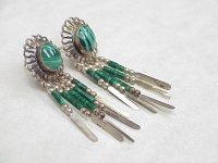 Vintage South West Concho Dangle Earrings With Malachite ...