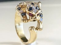 Vintage 18k Gold Diamond Sapphire Ruby Panther Ring. 9 ...