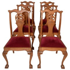 Chippendale Dining Chair Posture Armchair Elegant Set 6 Vintage Chairs Oak 1940 50 S The Gatz Ruby Lane