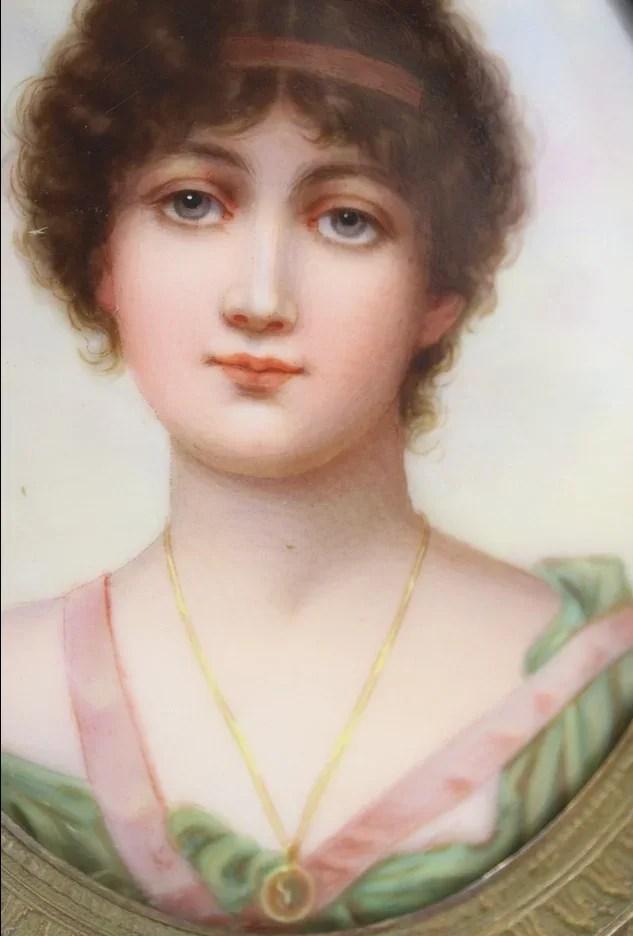 Vintage Portrait Of A Woman Hand Painted Amp Porcelain