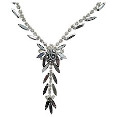 Dramatic French Collar Necklace with Metal, Lucite and