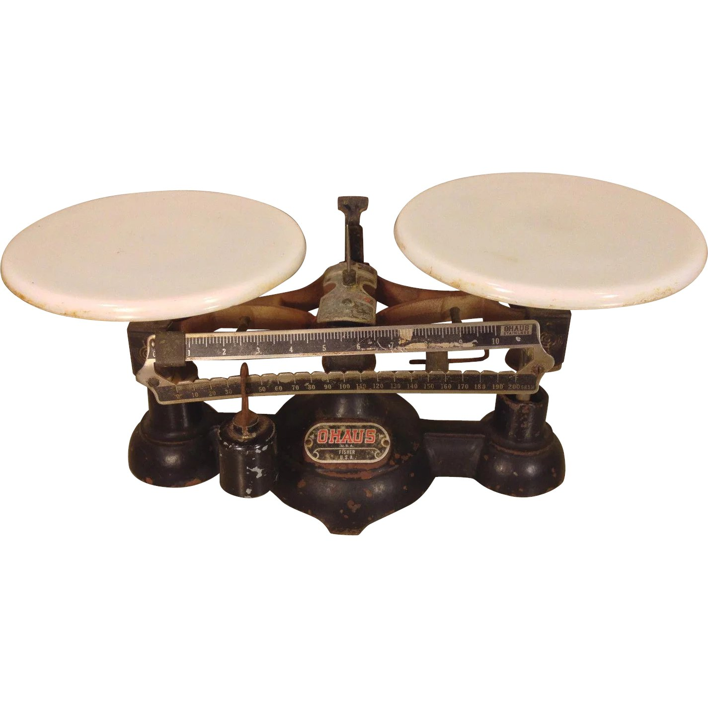 Antique Double Pan Balance Scale Ohaus Fisher Usa Milk