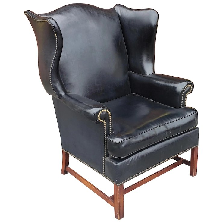 hickory chair co overstock leather vintage black vinyl upholstered english style chatsworth antiques ruby lane