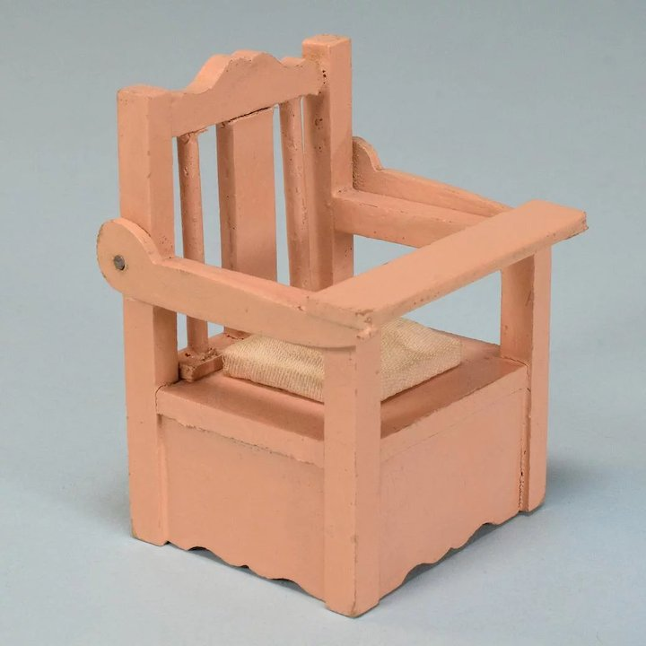 wooden potty chair office ballet dollhouse with all bisque bathing doll 1920s 1930s 1 scale