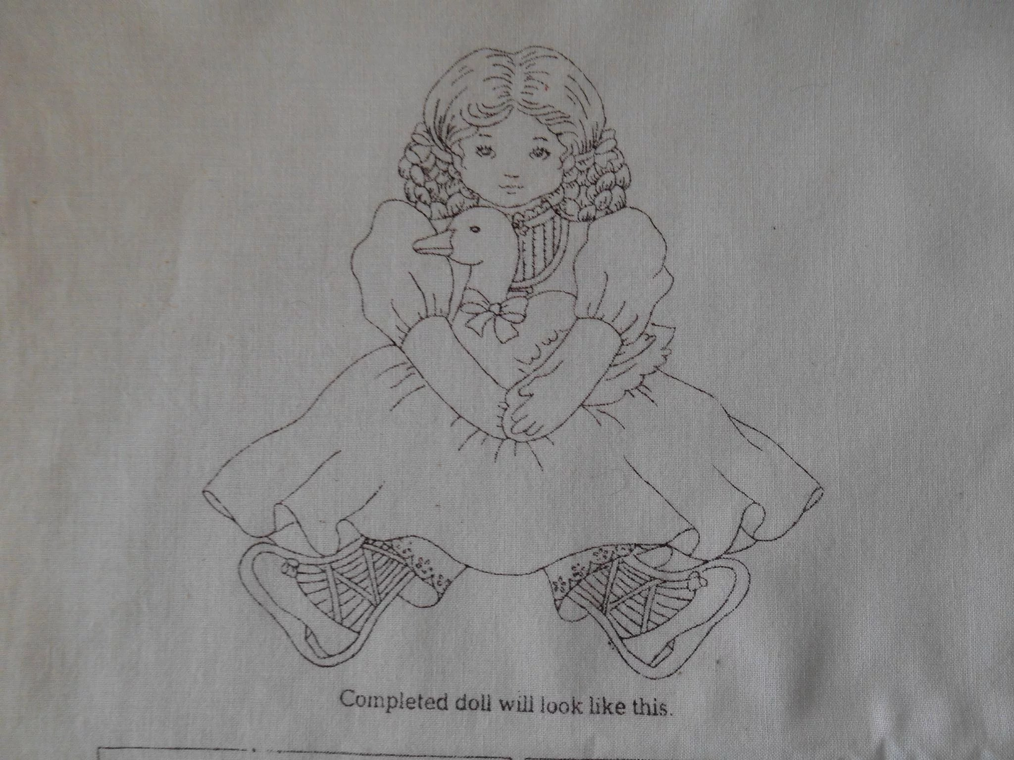 Vintage Panel, sew your own old fashioned doll
