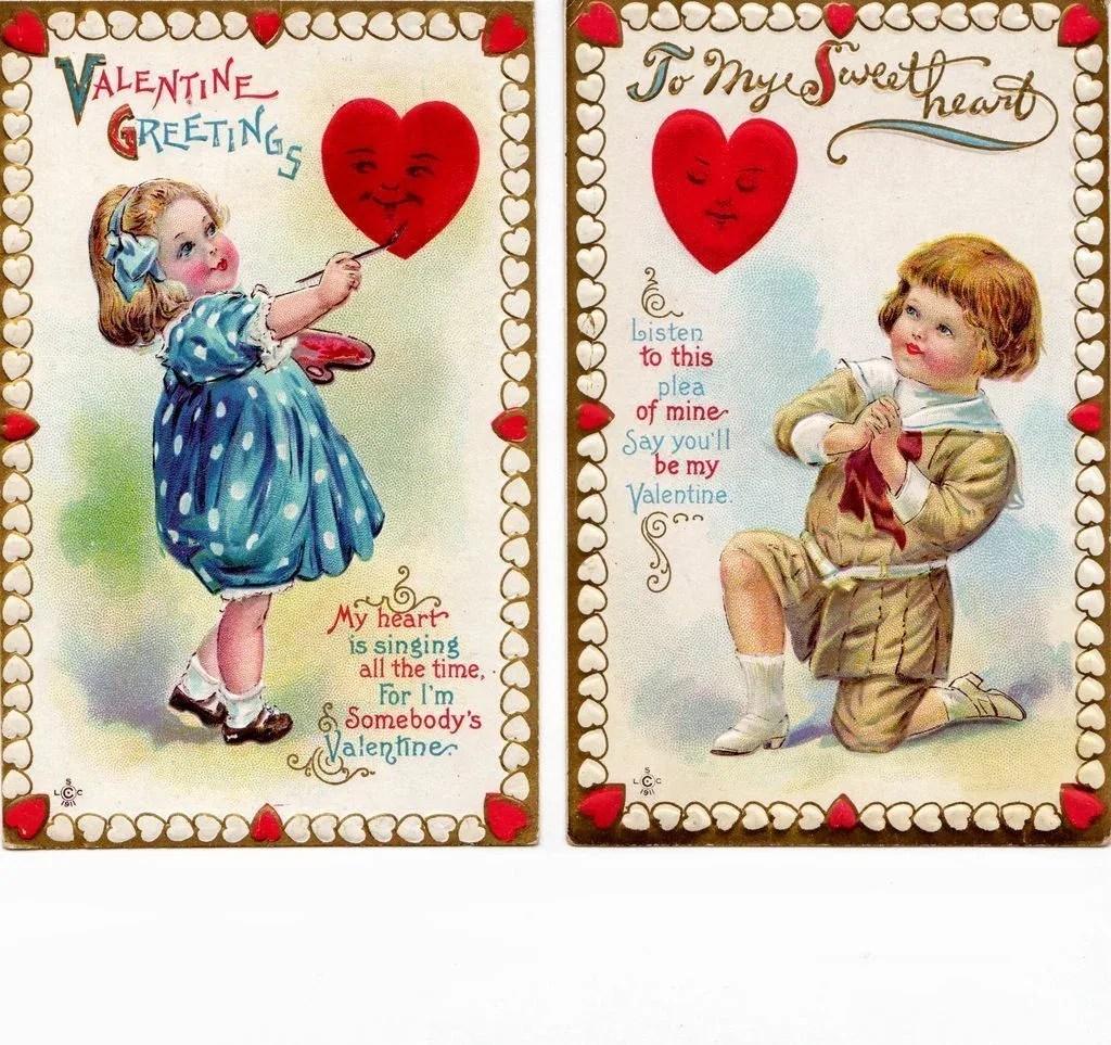 Set Of 2 Vintage 1911 Valentine Postcards Ruths