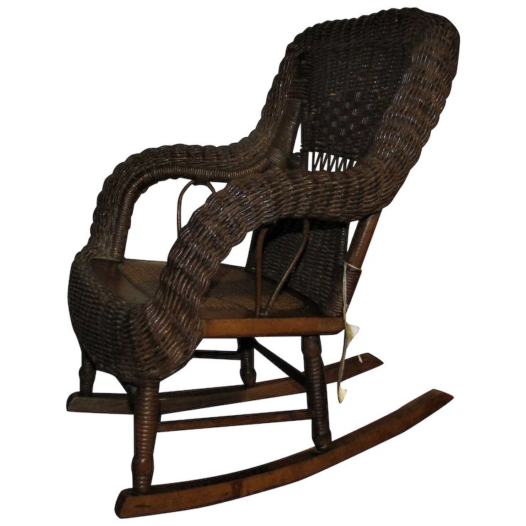 wicker rocking chairs balance disk for chair antique heywood wakefield child s f7054 mission furniture ruby lane
