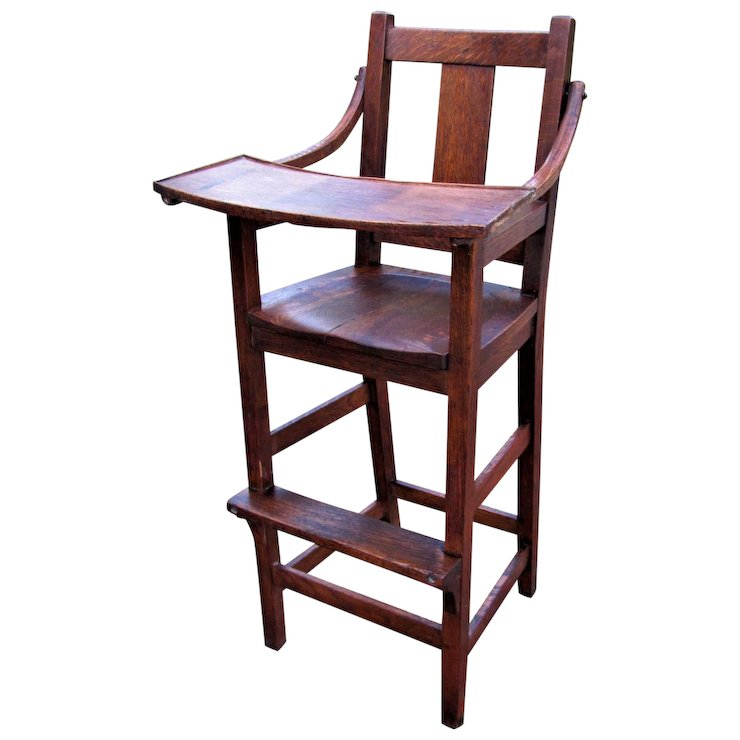antique high chairs cushion for chair stickley brothers child s w4278 mission furniture ruby lane