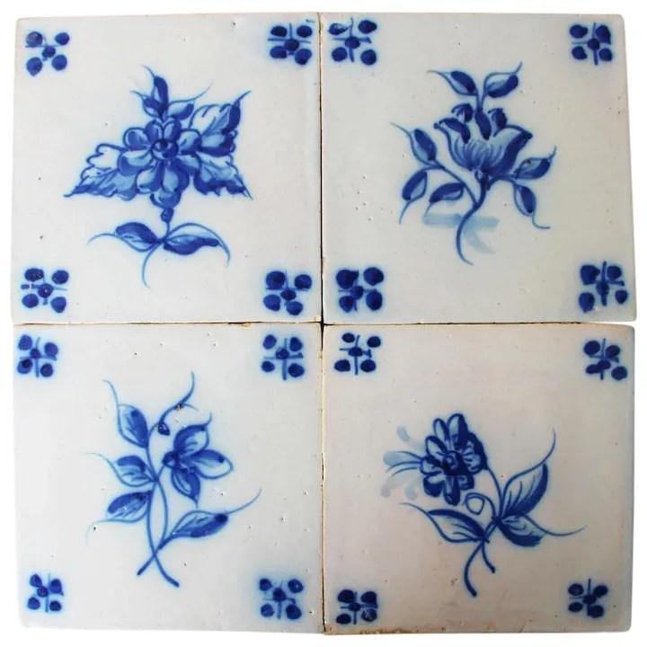 19th century set of 4 floral tiles portuguese white tin glazed pottery