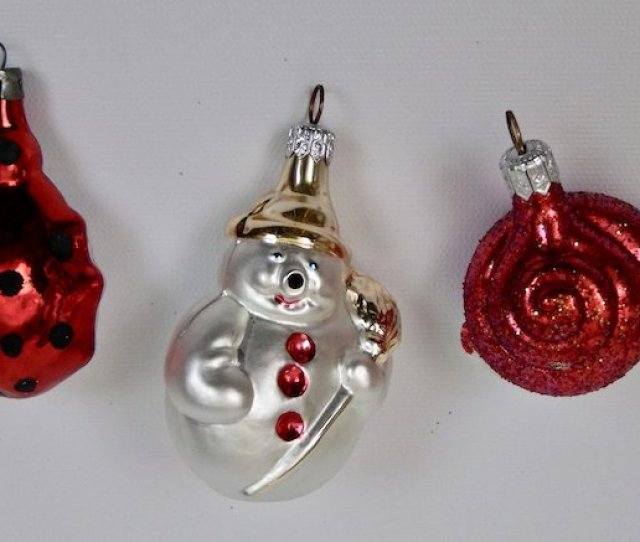 Christmas Ornaments Miniature Snail Snowman Ladybug Set Of