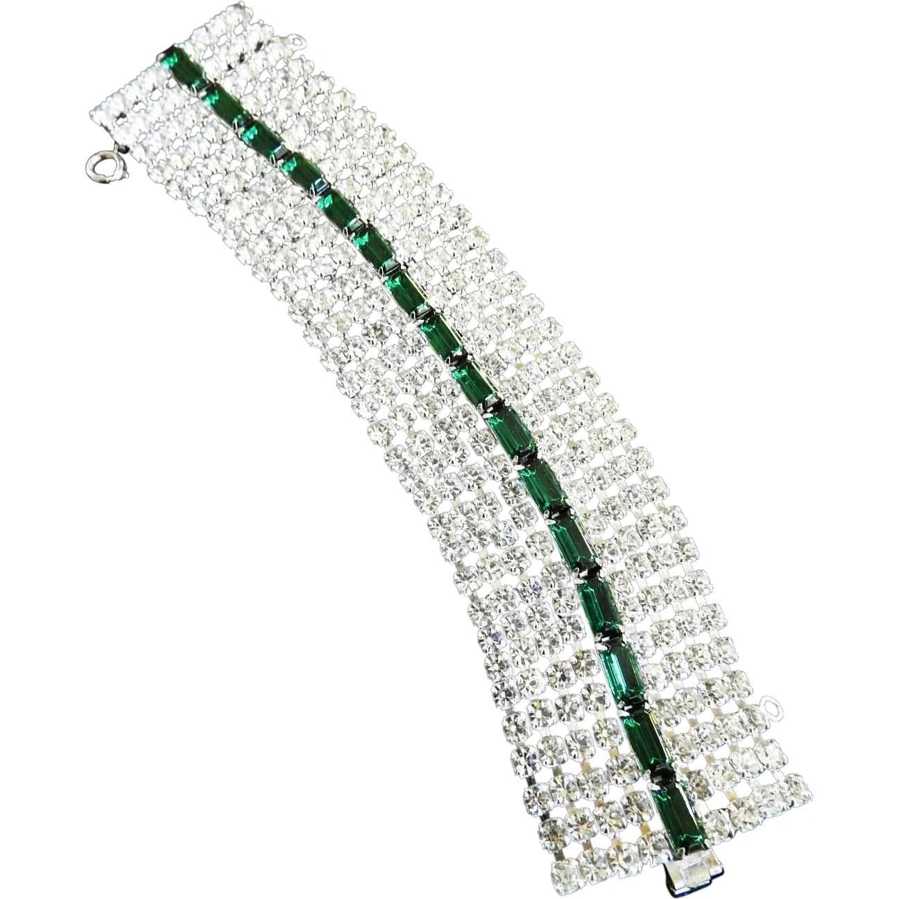 Vintage Rhinestone Wide Emerald Green Designer Bracelet