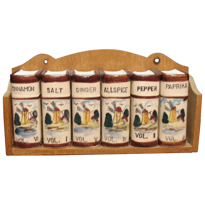 vintage decorative functional kitchen spice rack with dutch windmill decals 1950s very good condition