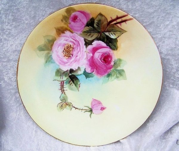 """L. France Limoges 1900' Hand Painted """"red & Pink"""