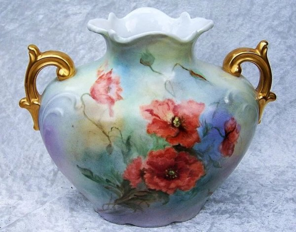 """Beautiful .l. France Limoges 1900' Hand Painted """"burnt"""