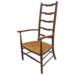 Arts And Crafts Style Chair Swivel For Shower Movement Ladder Back Arm Rush Seat C Amulet Art Antiques Ruby Lane