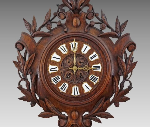 Antique French Black Forest Clock Carved Oak Enamel Numerals C Th Century France