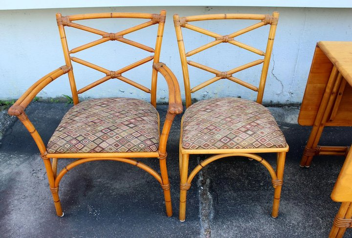 heywood wakefield wicker chairs chair floor protectors mid century ashcraft rattan dining set with 4