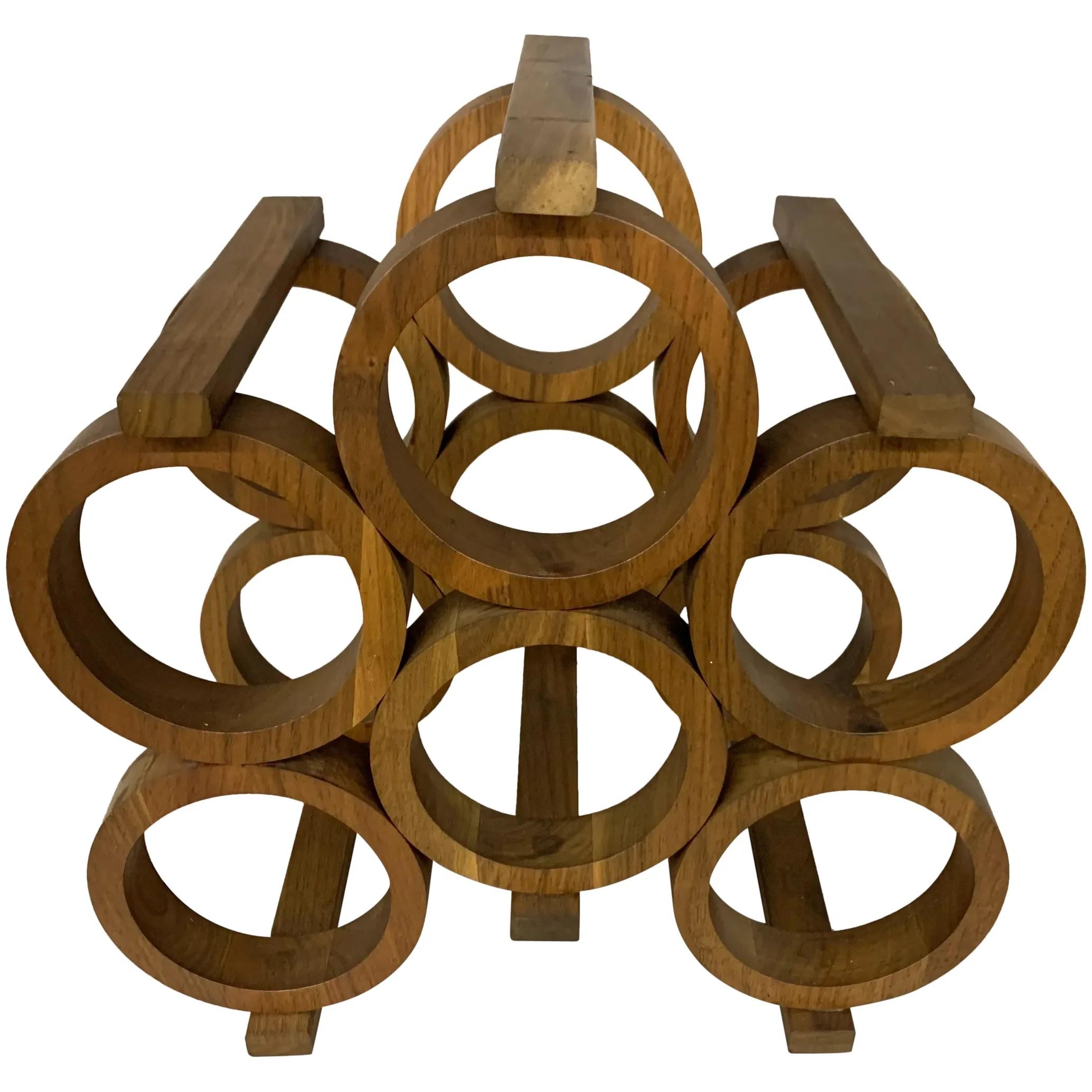 mid century geo abstract american six bottle walnut counter wine rack