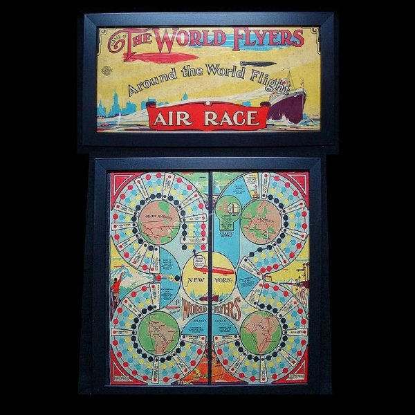 2 Framed Game Boards World Flyers 1927 Childhood Antiques Ruby Lane