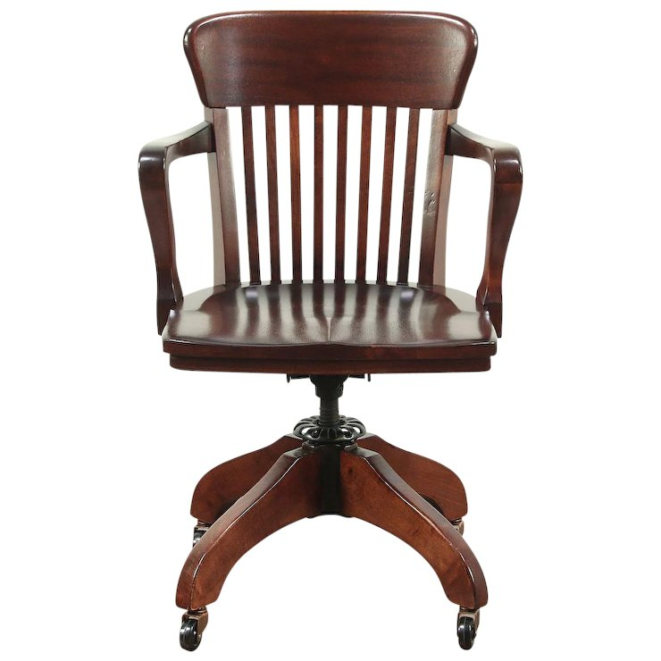 antique mahogany office chair grey leather dining 1920 s swivel adjustable desk 28902 harp gallery furniture ruby lane