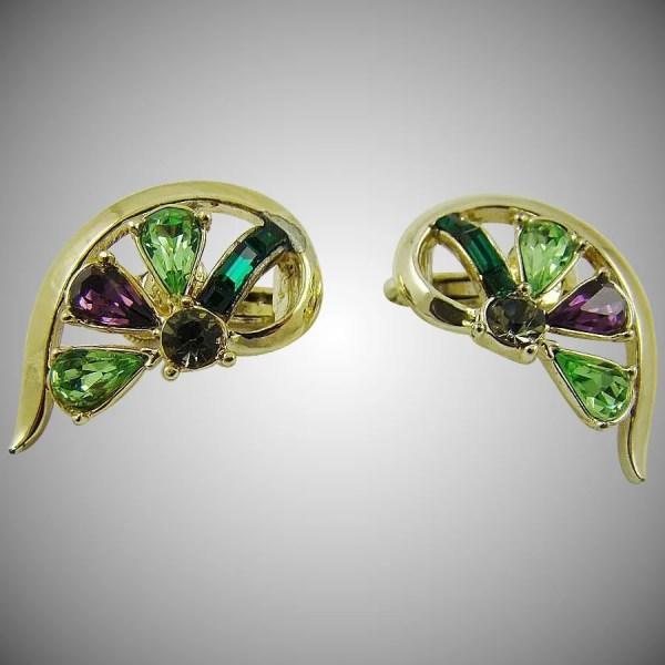 Coro Heart Shaped Rhinestone Earrings Vintage