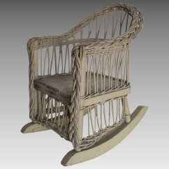 Vintage Wicker Rocking Chair 48 High Back Outdoor Cushions Antique For Doll Or Teddy Bear Neatcurios Ruby Lane