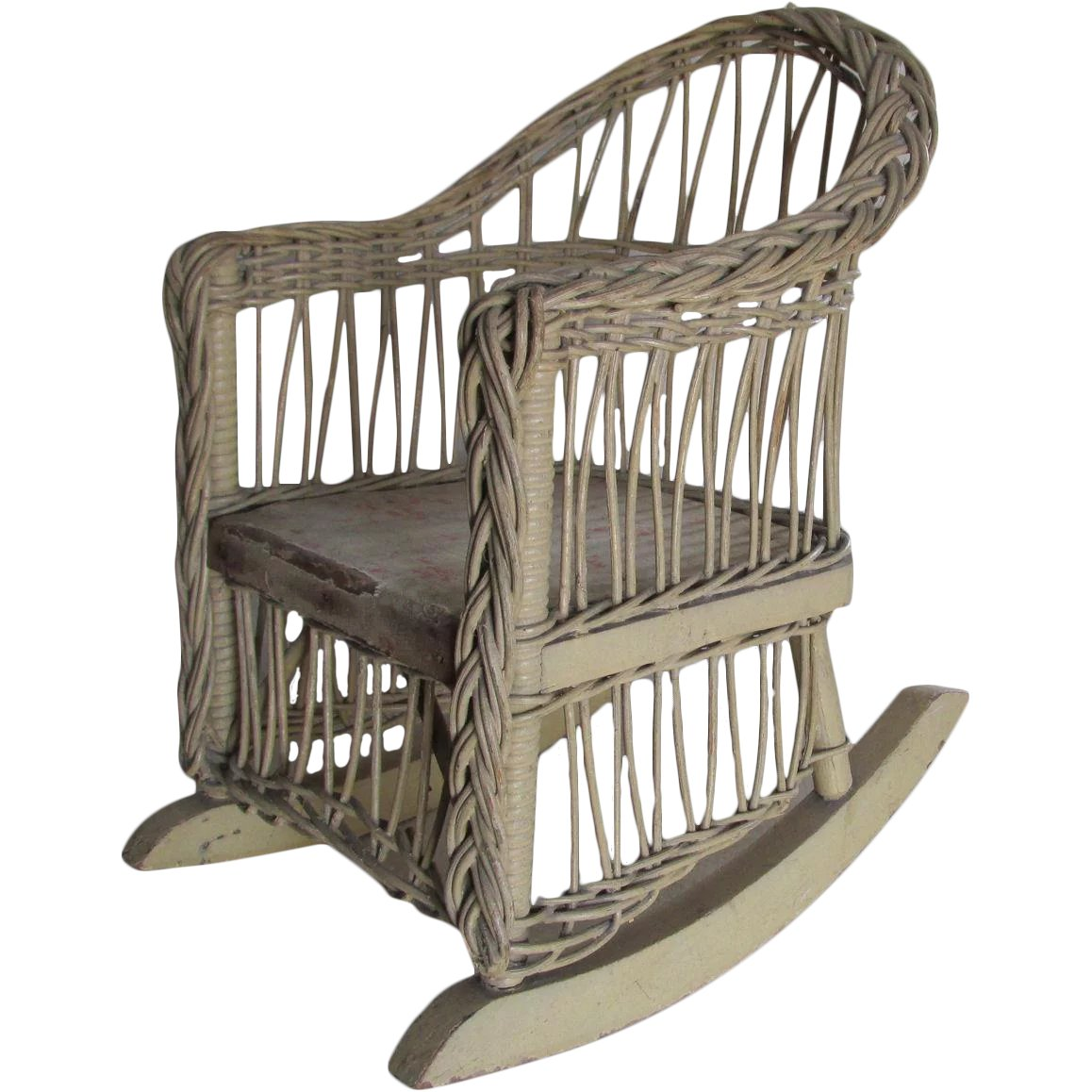 Wicker Rocking Chair Antique Wicker Rocking Chair For Doll Or Teddy Bear