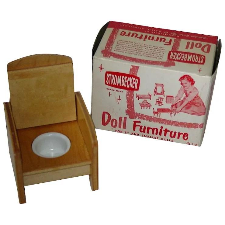 wooden potty chair outdoor patio vintage 1950s strombecker doll furniture nursery mib