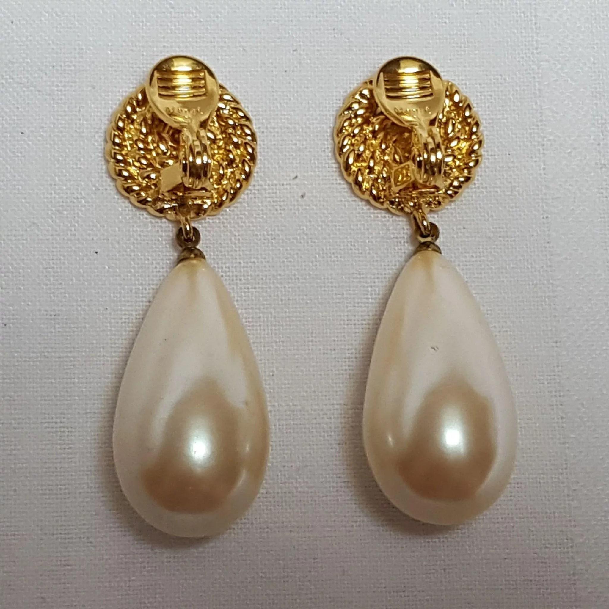 Monet large simulated pearl drop clip earrings : Green