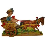 Large German Die Cut Mechanical Valentine Horse Drawn Buggy Child The Loft Antiques Ruby Lane