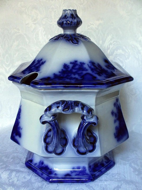 Scarce Large Scinde Flow Blue Soup Tureen With Cover