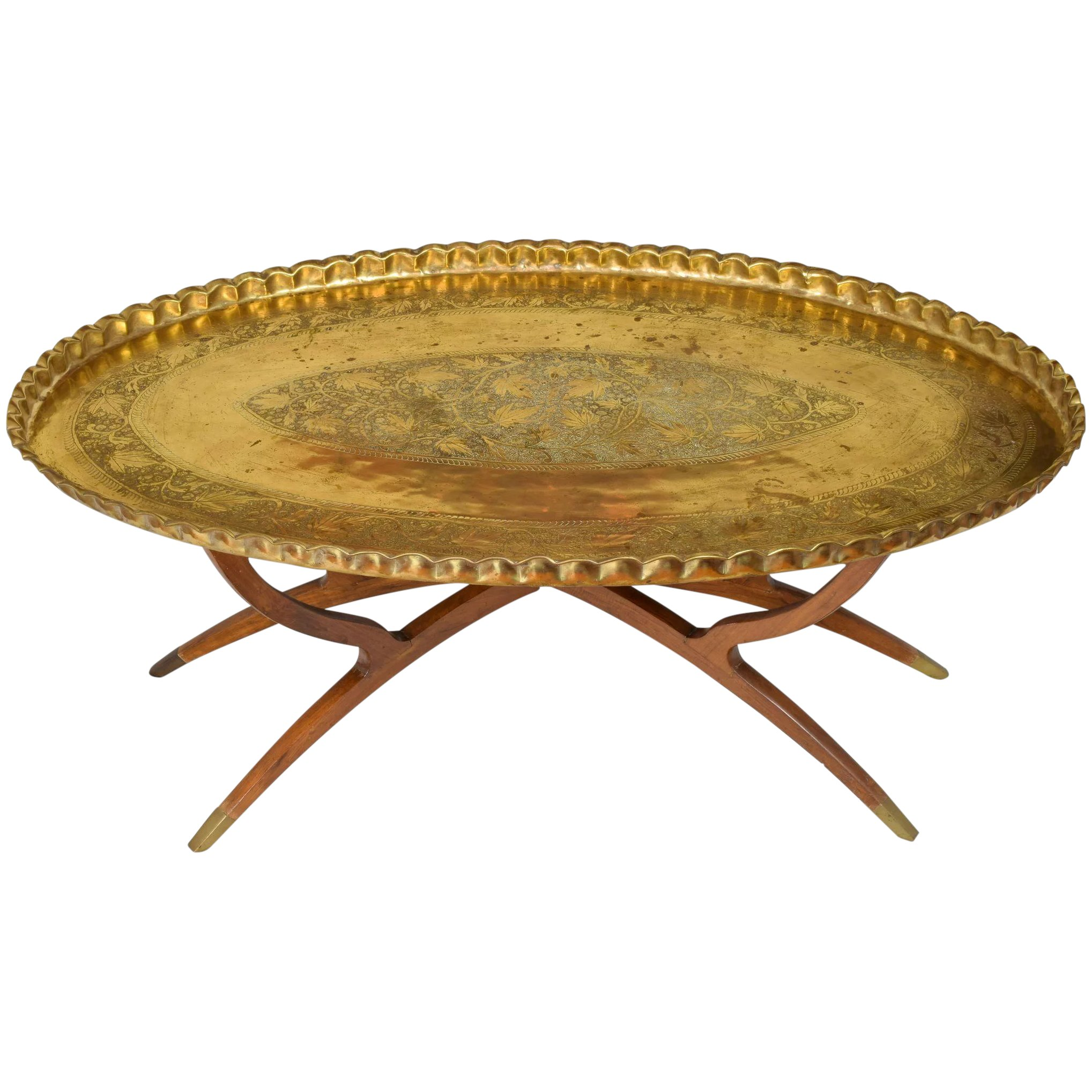 massive mid century brass teak wood tray table